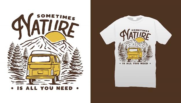 Berg wohnmobil van t-shirt design Premium Vektoren