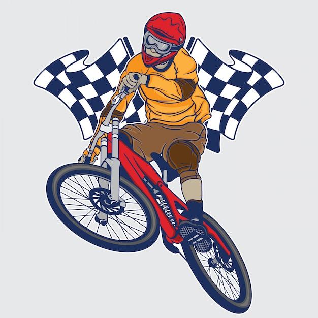 Bergab-mountainbike-meisterschaft Premium Vektoren