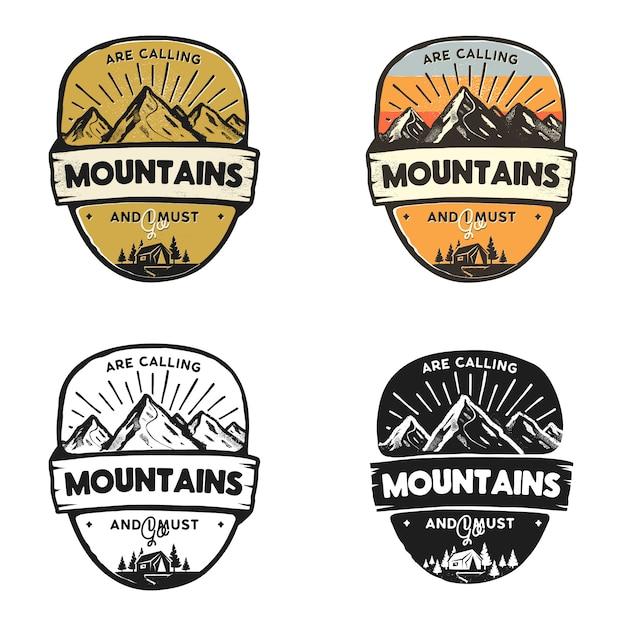 Bergabenteuer logos, reiseabzeichen vorlagen wanderpatches Premium Vektoren