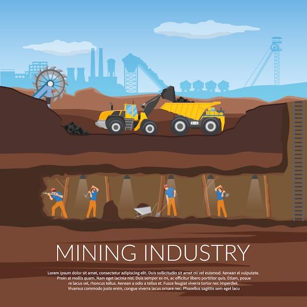 Bergbau-abbildung Kostenlosen Vektoren
