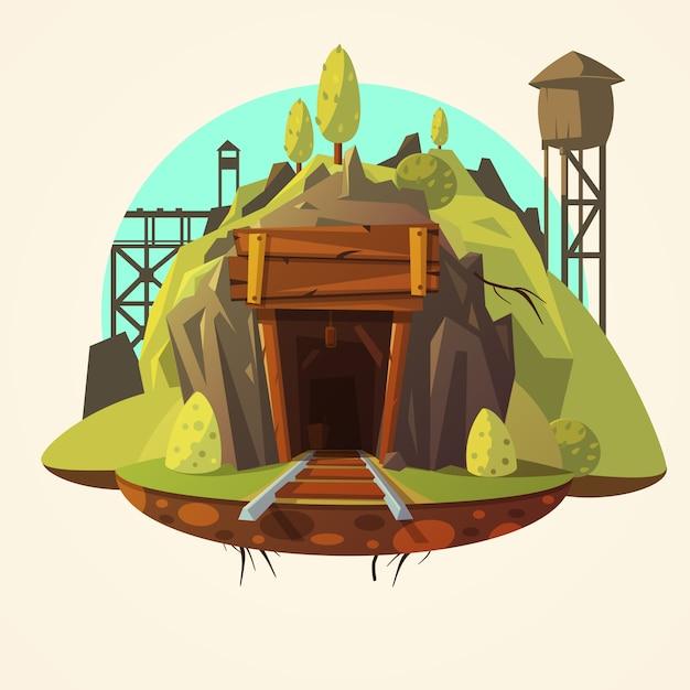 Bergbau cartoon illustration Kostenlosen Vektoren