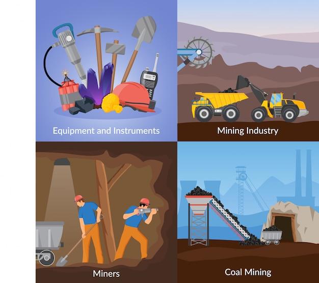 Bergbau-induktions-flaches konzept des entwurfes Kostenlosen Vektoren