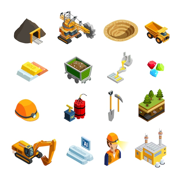 Bergbau isometrische icons set Kostenlosen Vektoren