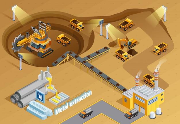 Bergbau isometrische illustration Kostenlosen Vektoren