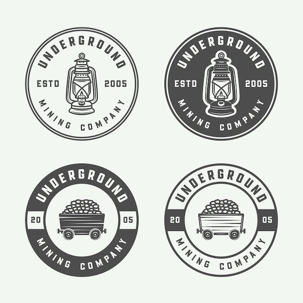 Bergbau oder bau logo abzeichen Premium Vektoren