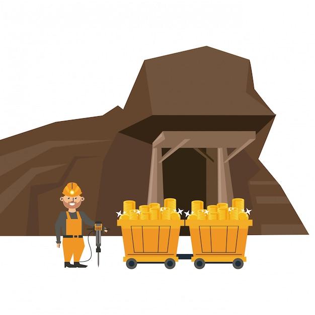 Bergbauhöhle und arbeiter mit lastwagenwagen Premium Vektoren
