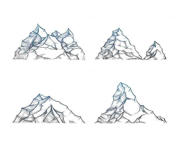 Berge auf weiß gesetzt Premium Vektoren