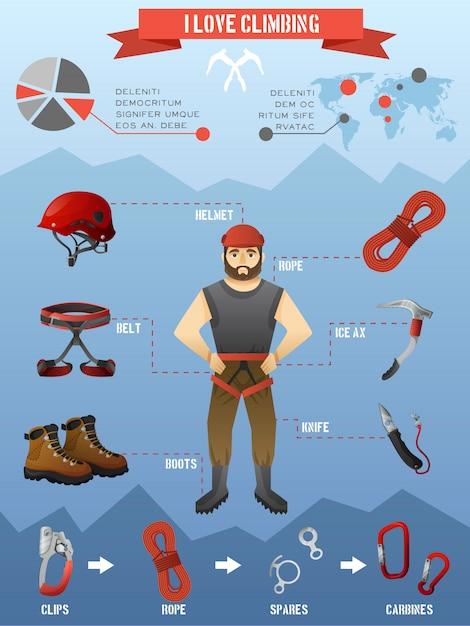 Berge klettern infografiken poster Kostenlosen Vektoren