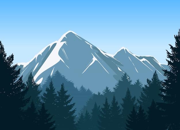 Berge mit kiefernwaldhintergrund Premium Vektoren