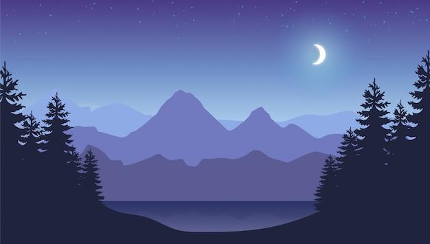 Berge nacht hintergrund. smokey rocky panorama mit bergen und pinienwald silhouetten. Premium Vektoren