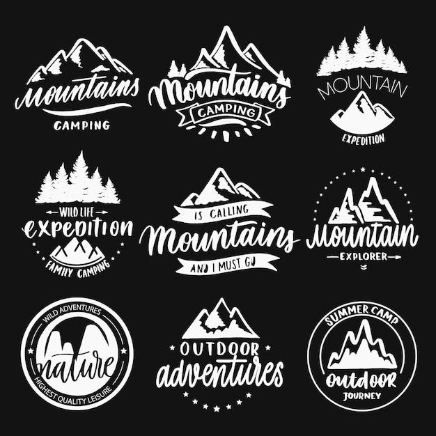 Berge reisen abzeichen Premium Vektoren