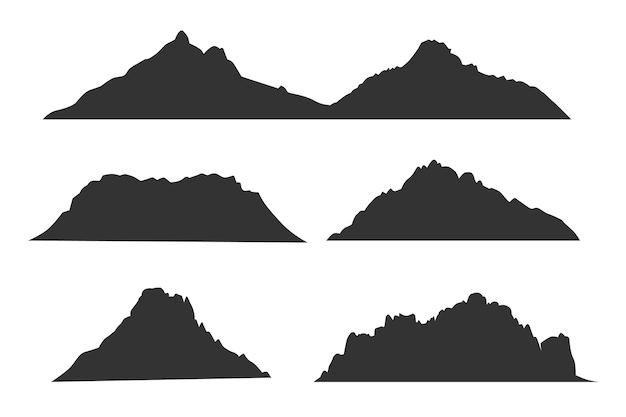 Berge schwarze silhouetten für outdoor- oder reiseetiketten gesetzt. schwarze schattenbild-bergschablone, illustration der hochlandgipfelberge Premium Vektoren
