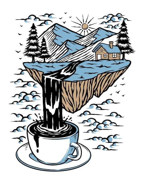 Berge und flüsse des kaffees lokalisiert auf weiß Premium Vektoren