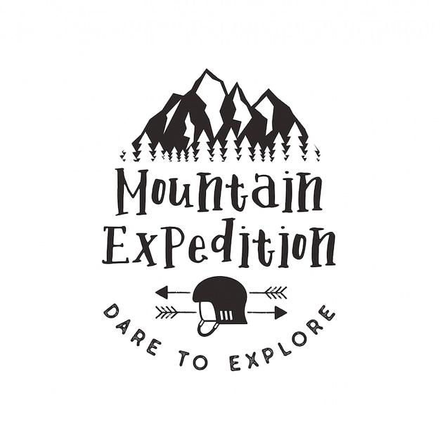 Bergexpeditionsetikett mit klettersymbolen und schriftgestaltung - wagen sie es zu erkunden. weinlesebriefbeschwererart-logoemblem lokalisiert auf weiß Premium Vektoren