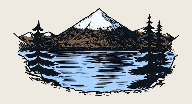 Berggipfel, vintage rock, altes hochland. hand gezeichnete vektorsaußenskizze im gravierten stil. Premium Vektoren
