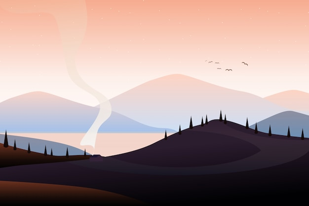 Berglandschaft illustration Premium Vektoren