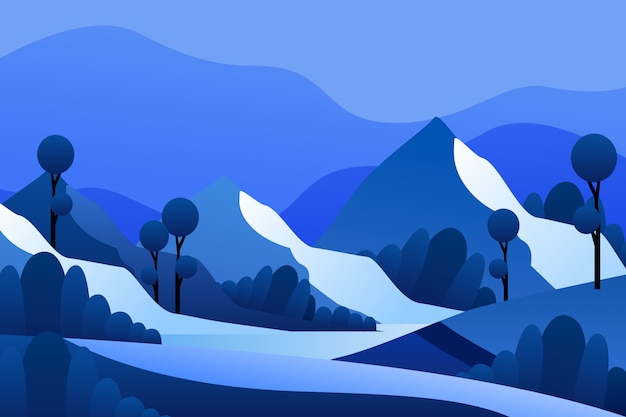 Berglandschaft in der wintersaison Premium Vektoren