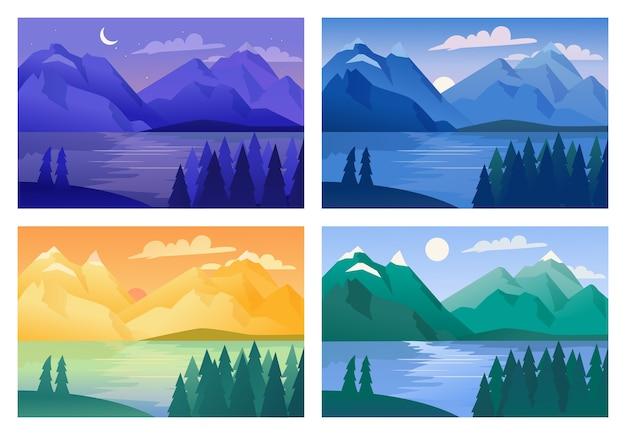 Berglandschaft mit wald und see morgens, nachmittags, abends und nachts. Premium Vektoren