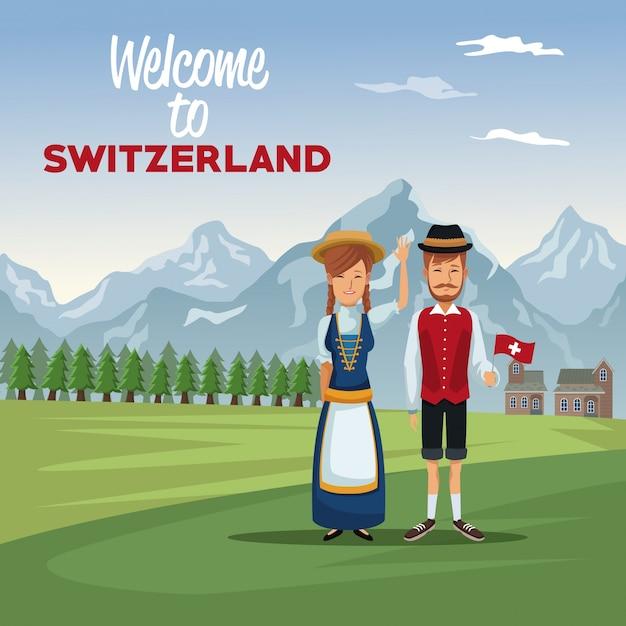 Berglandschaftstalplakat mit traditionellen leuten mit textwillkommen in der schweiz Premium Vektoren