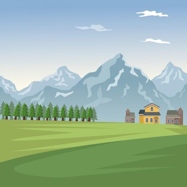 Berglandschaftstalplakat mit wald- und fassadenhäusern Premium Vektoren