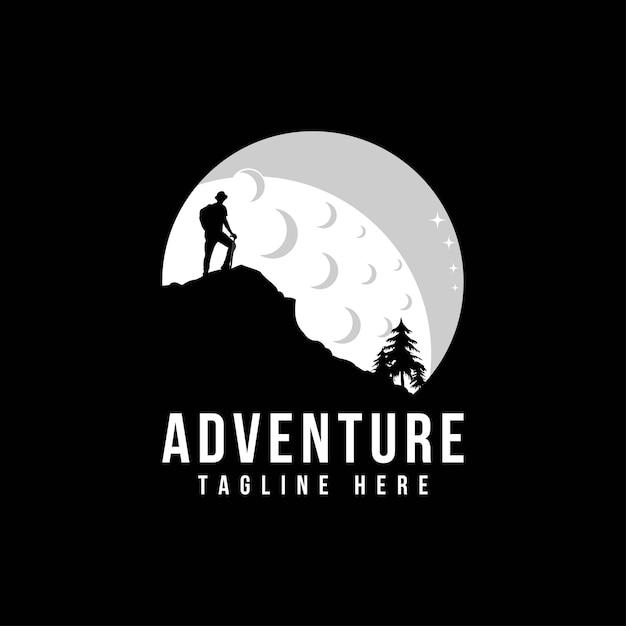 Berglogo mit camping und wandern Premium Vektoren
