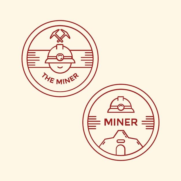 Bergmann mit professioneller mine helm monoline emblem, abzeichen oder insignien Premium Vektoren