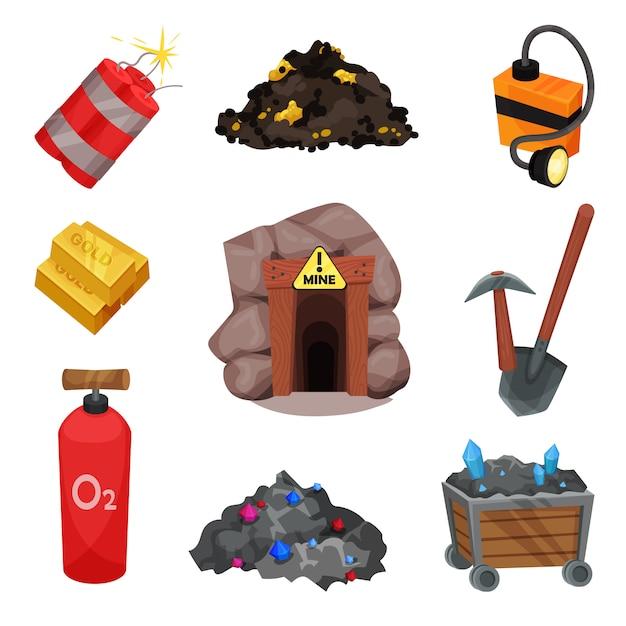 Bergmannswerkzeuge auf weißem hintergrund. mineralische ressource. Premium Vektoren