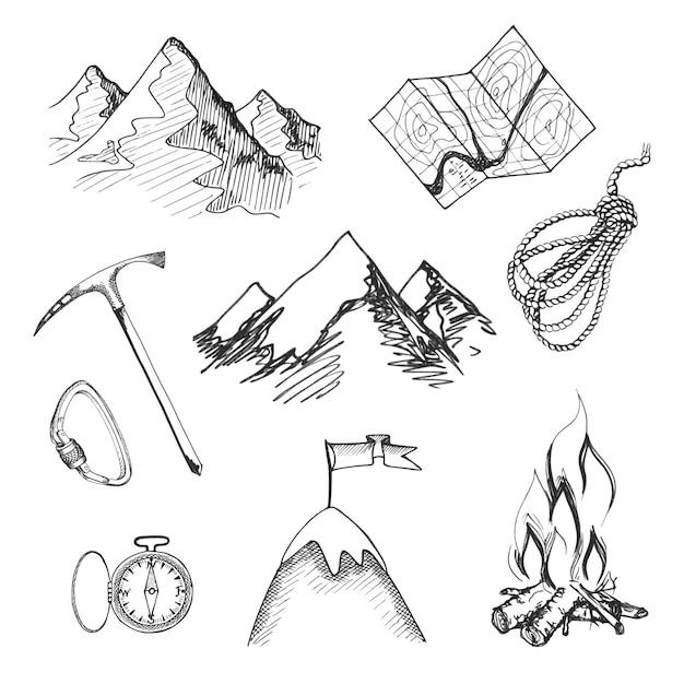 Bergsteigen camping dekorative icon-set mit karte seil kompass lagerfeuer isoliert vektor-illustration Kostenlosen Vektoren