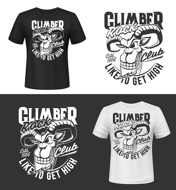 Bergziege t-shirt druck oder tätowierung, vektor steinbock Premium Vektoren