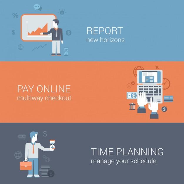 Bericht präsentation, online-zahlung im internet bezahlen, zeitplanung geschäftstechnologie konzepte flache design-illustrationen gesetzt. Kostenlosen Vektoren