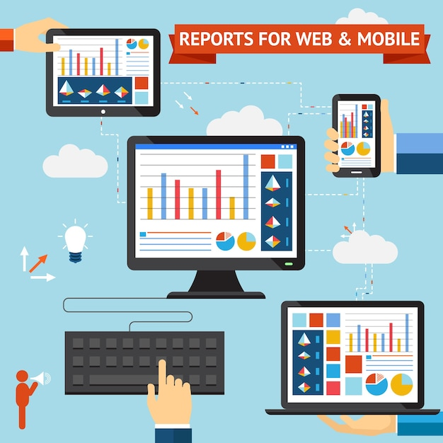 Berichte für web- und mobile vektoren mit farbenfrohen anzeigen von diagrammen, diagrammen und statistiken, die auf den bildschirmen eines über die cloud synchronisierten desktop-laptops für mobiltelefone und tablets angezeigt werden Kostenlosen Vektoren