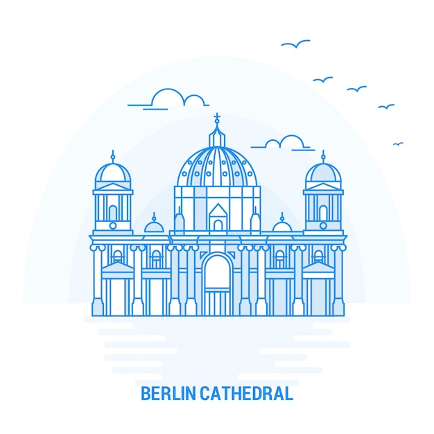 Berlin cathedral blue landmark Premium Vektoren