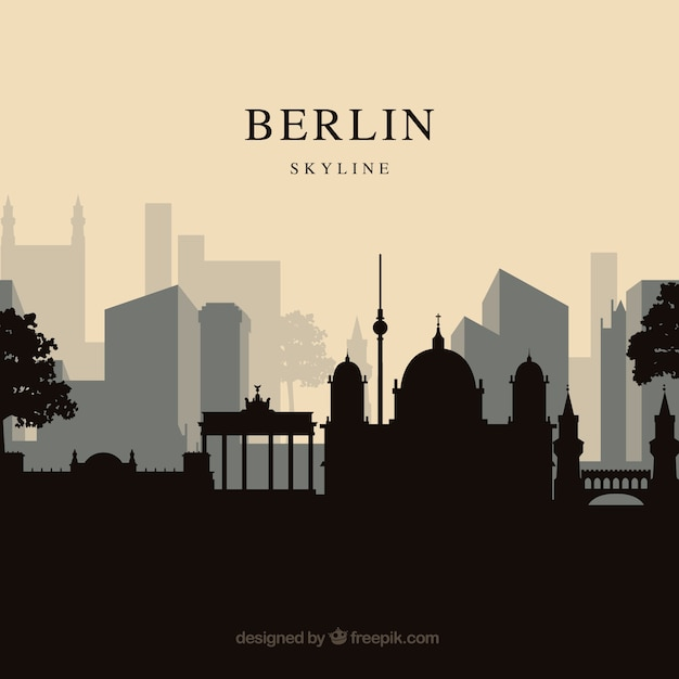 Berliner skyline hintergrund Kostenlosen Vektoren