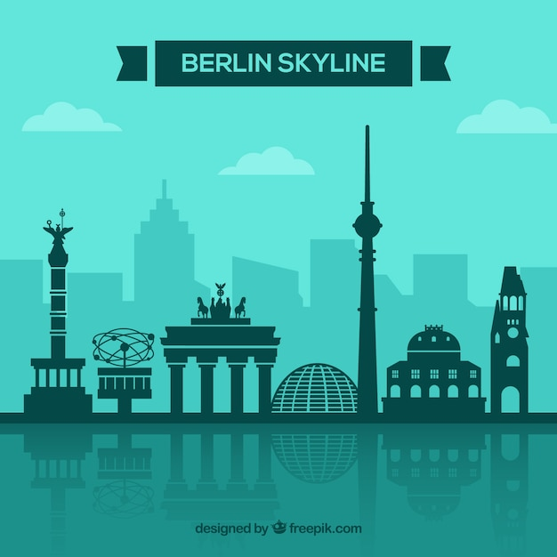 Berliner skyline konzept Kostenlosen Vektoren