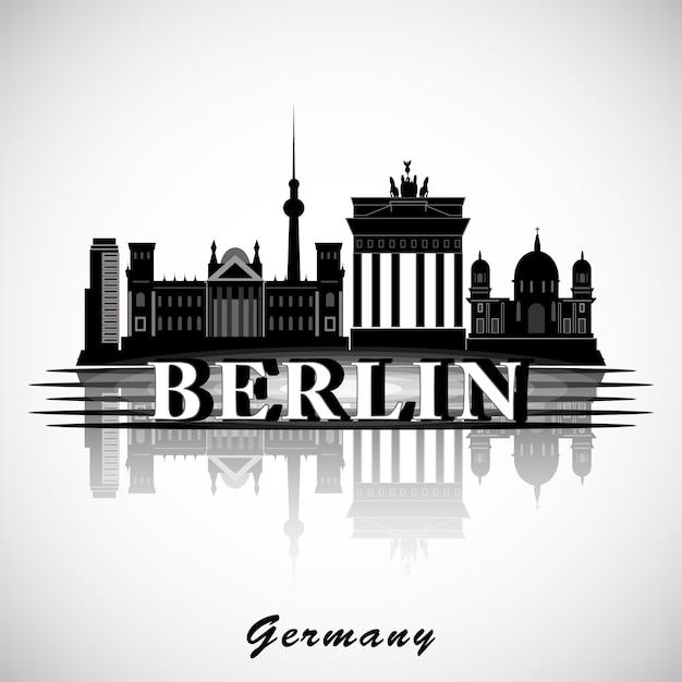 Berliner skyline. vektorstadtschattenbild. Premium Vektoren