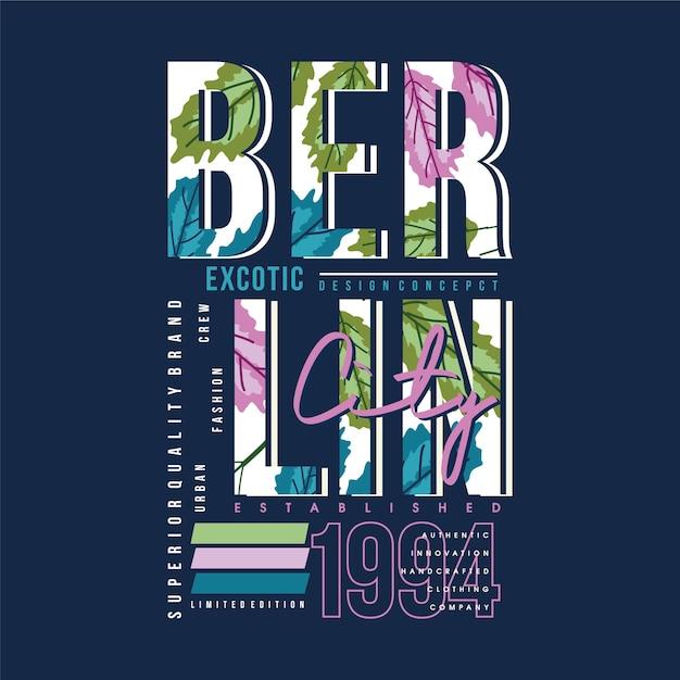 Berliner text mit grafischer typografiedesignillustration im hintergrund Premium Vektoren