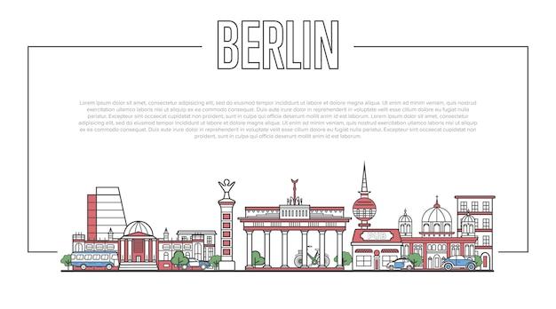 Berliner wahrzeichen panorama im linearen stil Premium Vektoren