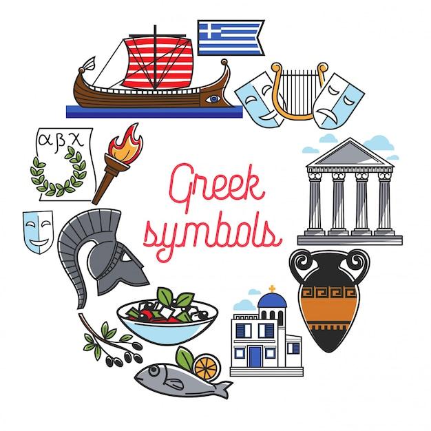 Berühmte besichtigungssymbole griechenlands und kulturmarksteinikonen für griechisches reisereiseplakat Premium Vektoren
