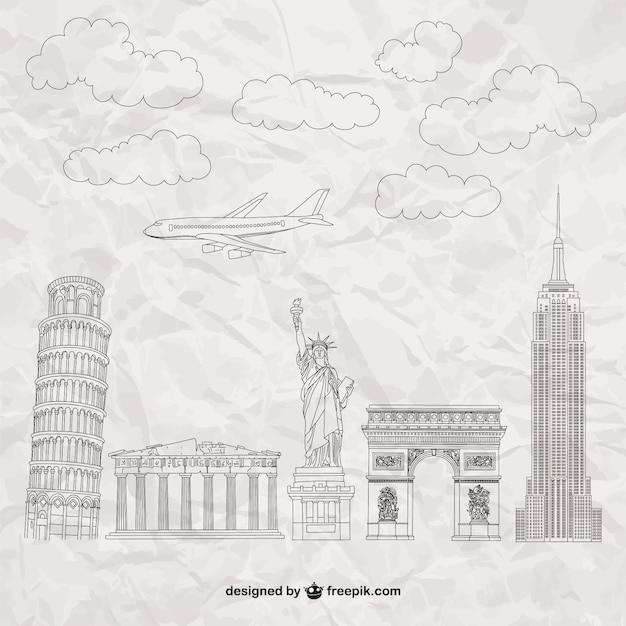 Berühmte denkmäler auf papier textur Kostenlosen Vektoren