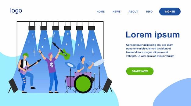 Berühmte rockband, die musik spielt und auf der bühne singt Kostenlosen Vektoren