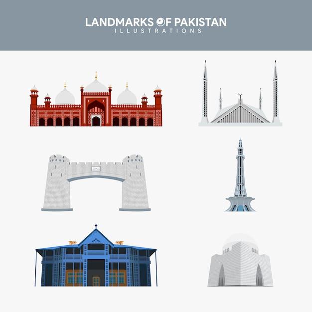 Berühmte sehenswürdigkeiten von pakistan illustrations set Premium Vektoren