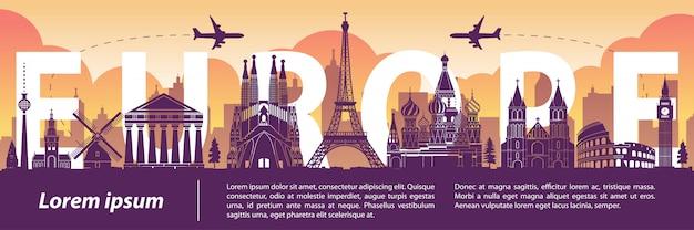 Berühmte wahrzeichen-schattenbildart europas, text innerhalb Premium Vektoren