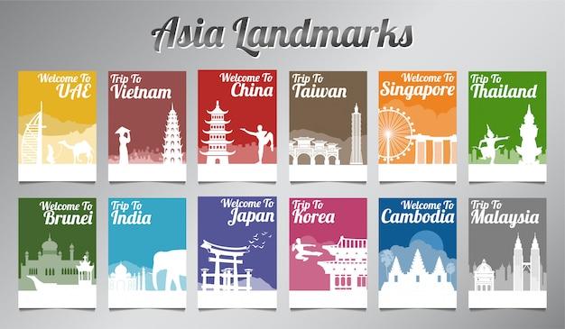 Berühmter markstein asiens im schattenbilddesign-broschürensatz Premium Vektoren