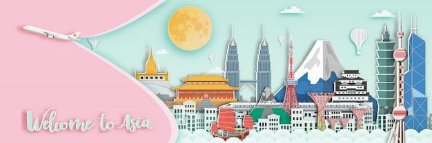 Berühmter markstein für reisekarte in asien Premium Vektoren