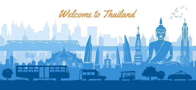 Berühmter markstein thailands in der landschaft Premium Vektoren