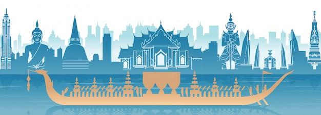 Berühmter markstein thailands und königliche thailändische bootsfahne Premium Vektoren