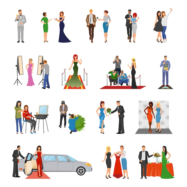 Berühmtheit flach farbige dekorative ikonen Kostenlosen Vektoren
