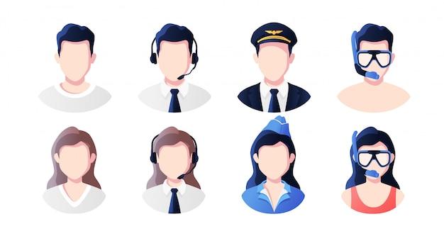 Beruf, beruf menschen avatare gesetzt. unterstützung, pilot, stewardess, urlauber. profilbild-symbole. männliche und weibliche gesichter. nettes karikatur modernes einfaches design. flache artillustration. Premium Vektoren