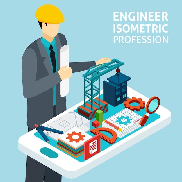 Beruf-ingenieur-konzept-isometrische fahne Kostenlosen Vektoren