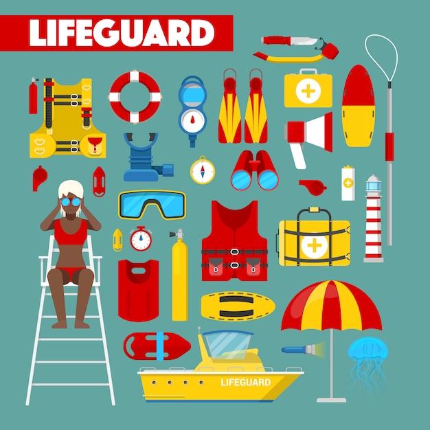Beruf rettungsschwimmer wasserrettung mit sicherheitssymbolen Premium Vektoren